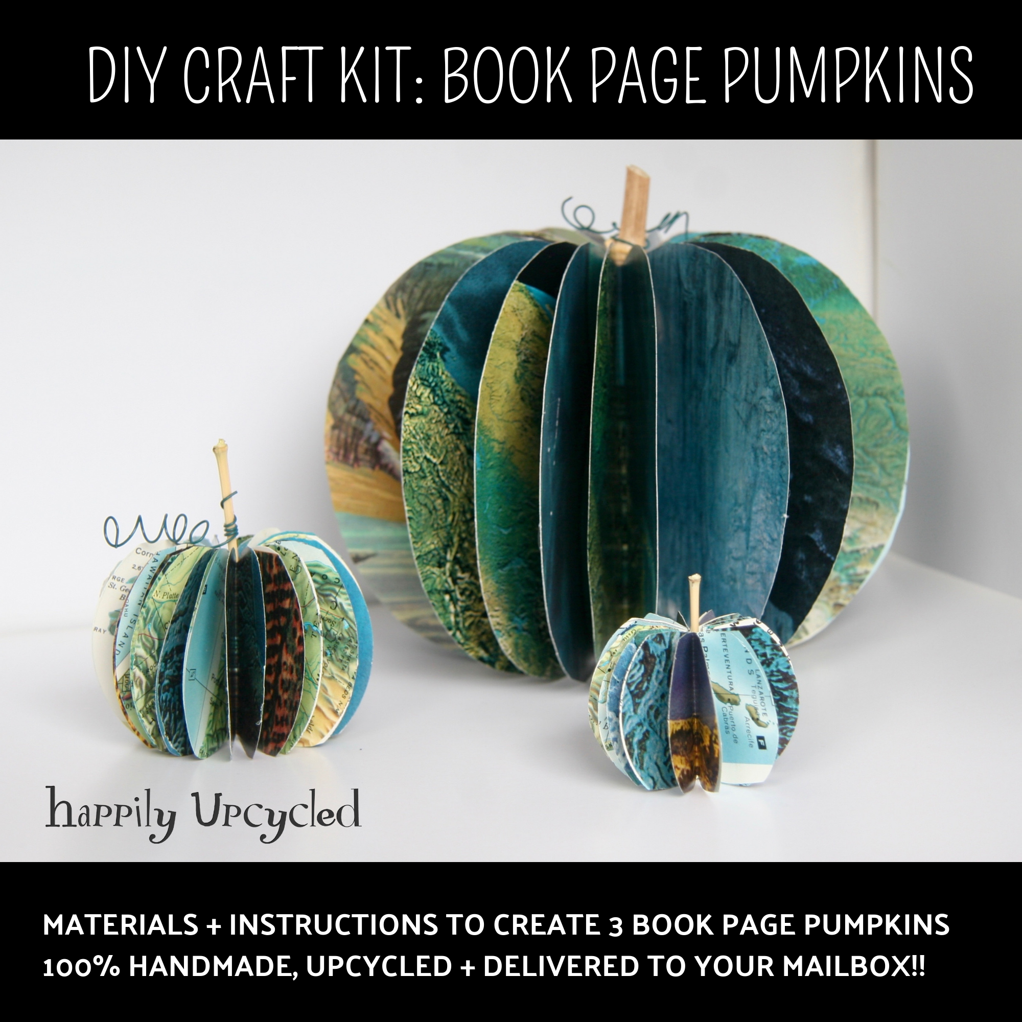materials + instructions to create 3 book page pumpkins. 100% handmade, upcycled + delivered to your mailbox!!