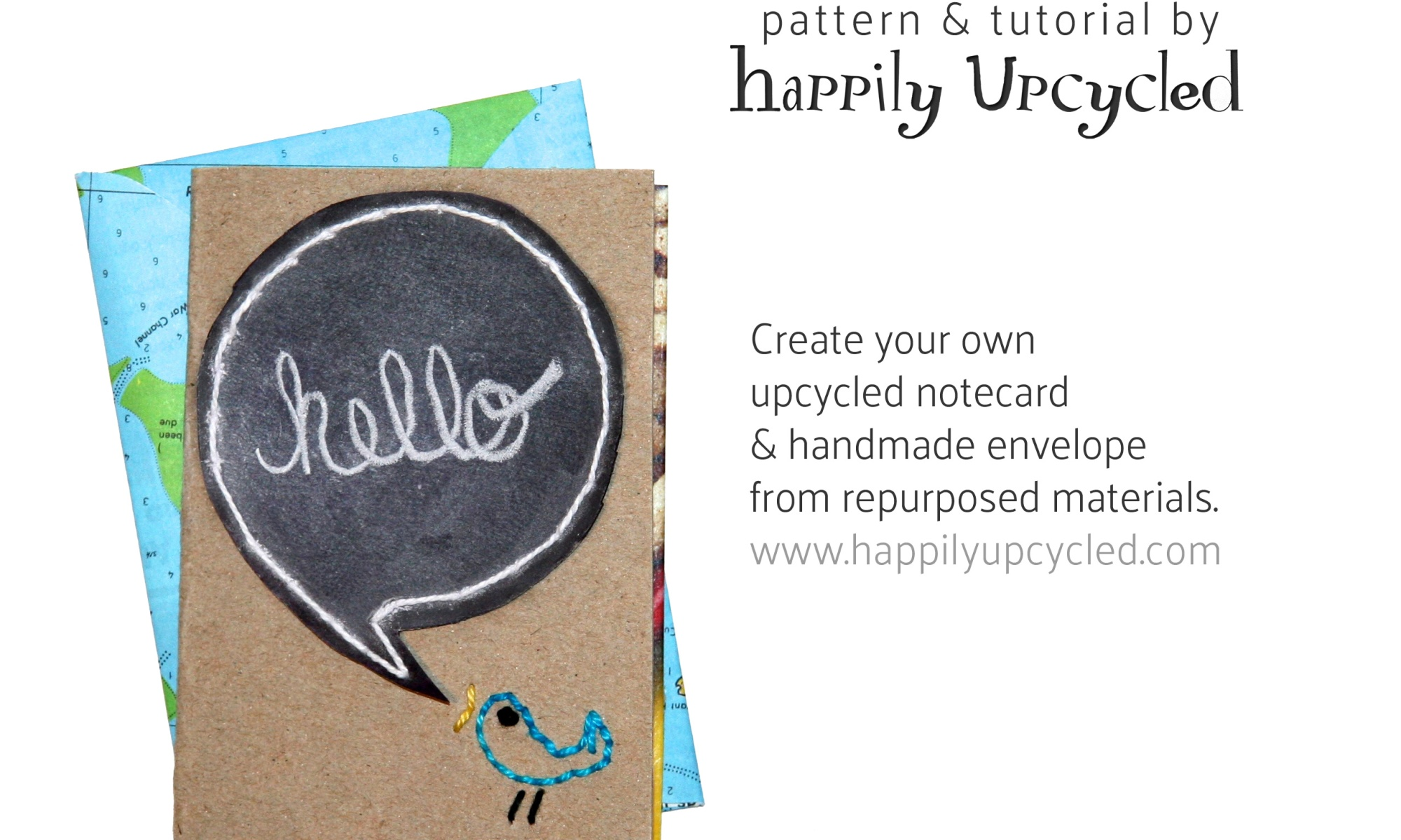 Upcycled Notecard: Hello Birdy!